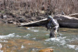 Ed Miller (cq) of Monument wades the  the South Platte River near the town of North Fork Monday...