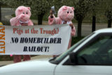"The laborer's International Union of North America (LIUNA) held a ""Pigs at the Trough""..."