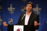 Detroit Red Wings coach Mike Babcock (cq) during afternoon press conference at the Pepsi Center...
