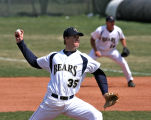 Bears pitcher, Joe Sawicki, delivers first pitch of a game April 25, 2008, at Jackson Field,...
