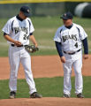 Bears pitcher Sean Peery, left, is talked to by head coach Daniel Heefner, during a game, April...