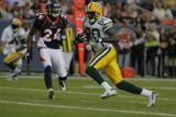 Broncos' Champ Bailey (24) chases down Green Bay's Donald Driver (80) in the first quarter as the...
