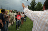 (177) Pro-life protesters get organized near the Pepsi Center as Denver's activity slowly  but...