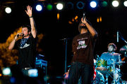 MCs Jonny 5, left, and Brer Rabbit of the Flobots perform the groups radio hit...
