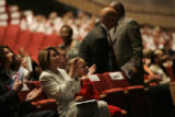 Speaker Nancy Pelosi at the interfaith service in side the Wells Fargo Theater inside the...