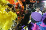 Members of the Wild Tchoupitoulas Honey Banister, Roderick Sylvas (-l-r) from New Orleans perform...
