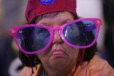 Florida delegate Pat Reister wears big glasses at the Pepsi Center during the Democratic National...