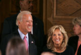 BG_0117 Vice Presidential candidate Joe Biden and his wife Jill arrive to hold a round table on...