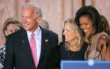BG_0144 Vice Presidential candidate Joe Biden, his wife Jill and Michelle Obama hold a round table...