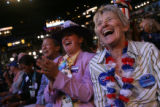 Colorado National Delegate Sonya Jaquez Lewis, left, and XXX cheer during Pennsylvania Gov. Ed...