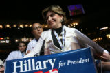 Attorney Gloria Allred expresses her supports for SEn. Hillary Clinton on the floor at the 2008...