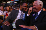 US. Rep. Jesse Jackson Jr (left) and Richard Mell, long-time member of the Chicago City Council,...