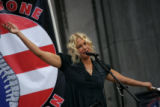 (PG4231) Actor Daryl Hannah speaks to demonstrators at a rally at Civic Center Park on Tuesday,...