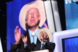 Colorado Senator Ken Salazar dedicates his delegates to Obama during the Democratic National...