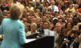 Thousands of Sen. Hillary Clinton support crowd into the Colorado Convention Center, Korbel...