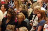 Supporters of Sen. Hillary Clinton crowd into the Korbel ballroom at the Colorado Convention...