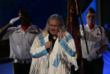 Robert Moore, singer from South Dakota and elected council member of the Rosebud Sioux Tribe sings...