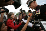 Lnc. Cpl Jeff Key, a veteran who opposes the war read a letter surrounded by media asking to meet...