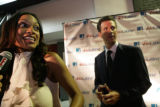 Rosario Dawson and Mayor Gavin Newson of San Fran chat on the red carpet at Vinyl a Voto Latino...