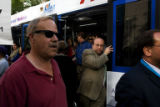 Steve Richman (cq) of Brooklyn, steps out of the RTD free mall ride Wednesday afternoon August 27,...