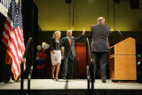 U.S. Senator Joe Biden (cq) walks onto a stage with his with Jill to speak with a crowd of...