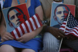 Maine delegates Emily Miles (left) of Bangor, ME and Craig Hickman, of Winthrop, ME. hold Barack...
