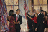 Democratic Presidential candidate Barack Obama, Michelle Obama and Vice Presidential nominee Joe...