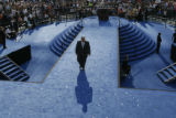 Martin Luther King III, eldest son of Dr. Martin Luther King Jr,  walks from the podium after his...