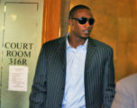 Denver Bronco Brandon Marshall exits Denver County court after pleading to DWAI  Friday September...