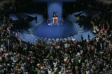 Barack Obama gives his speech during the Democratic National Convention at Invesco Field in Denver...