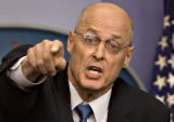 DCSA119 - Treasury Secretary Henry Paulson points to a reporter as he takes questions on the...