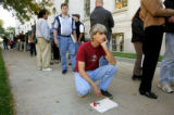 People wait in a long line outside the United States Bankruptcy Court on October 14, 2005 in...