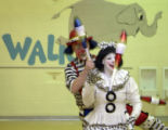 Dave and Cherie Gregg, (cq), clowns who juggle, perform for the kids in a double juggling act....