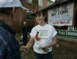 Iraqi War Veteran, Kelly Dougherty, cq, 27, of Colorado Springs, right, gets a handshake and...