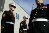 Members of the Marine Air Control Squadron 23 stationed at Buckley Air Force Base prepare for the...