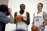 Denver Nugget rookies, Julius Hodge,left,  a 6-7 guard from North Carolina State and Linas Kleiza...
