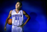 Second year Denver Nuggets forward, Eduardo Najera, during 2005-2006 Denver Nuggets media day on...
