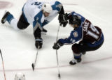 (DENVER, CO - 4/28/04) -- Colorado Avalanche Joe Sakic, #19, fires the game-winning goal against...
