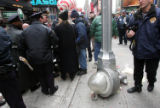 (NYT3) NEW YORK -- Nov. 24, 2005 -- THANKSGIVING-PARADE-3 -- A streetlamp after it fell to the...
