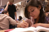 (WE DO NOT HAVE PERMISSION TO USE THIS PICTURE)  (FOREGROUND) Ana Escobar, 15, of Boulder High...