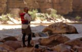 Gary Oyler scouts Upset Rapid on the Colorado River in Grand Canyon National Park. Because the...
