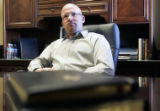 The Pastor Derek Sissel (cq) speaks in his office at the Gateway Church in Colorado Springs, CO...
