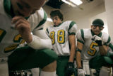 Mountain Vista teammates (left to right) Danny Beck (cq, #12), Griffin Rasel (cq, #88) and Matt...