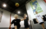 Nine year-old Adam Ayala (cq) of Parker tries to catch a nubby bouncing ball that bounces...