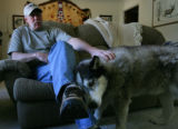 Goose Gossage at his home pets his dog in Colorado Springs, Colo. December 20, 2007. Goose Gossage...
