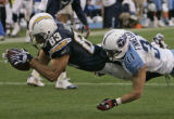CALI114 - San Diego Chargers receiver Vincent Jackson dives into the endzone with Tennessee...