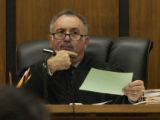 Chief Judge Dennis Maes, during truancy court at the Pueblo Judicial Building Thursday October 13,...