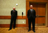 U.S. Senator Ken Salazar, left, and Democratic National Committee Chairman Howard Dean, right,...