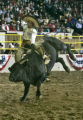 Mexican bull rider Jose Luis Malpica received a score of a 84 during the Bull Riding event as the...