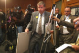 State Representative Douglas Bruce (cq) enters an 8am press conference Tuesday January 14,2008. He...